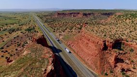 Highway in a beautiful canyon plain valley stock video footage