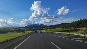 Highway on a beautiful sunny day. Highway Castelo Branco, Sao Paulo Brazil Royalty Free Stock Photo