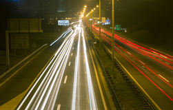 Highway in Belgrade 3. Driving on highway at night Belgrade - Serbia. Light trails on motorway at night of full moon, long exposure abstract photograph stock image