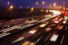 Motorway / Highway at Night Royalty Free Stock Photography