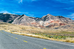 Highway and Bighorn Mountains Royalty Free Stock Image