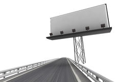 Highway with billboard panel  on white Royalty Free Stock Image