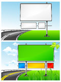 Highway billboards. Landscape with blank billboards for advertising and highway,  illustration Royalty Free Stock Images