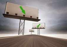 Highway with billboards and arrow way direction Stock Photo