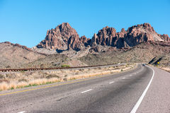Highway into the Black Mountains in Arizona Stock Images