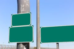 Highway green blank signs royalty free stock photos