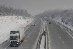 Highway in blizzard Royalty Free Stock Photos
