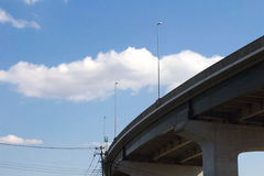 Highway and blue sky. It is blue sky visible to the highway and the background to run the city Royalty Free Stock Images