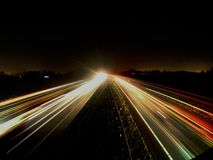 Highway. A1 Bornerbroek Delden Nightlapse Gorpo stock image