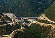 Highway bridge, aerial. View in mountainous area stock image