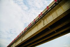 A highway bridge around an urban area. A traditional highway bridge around an urban area isolated unique stock photo stock photos