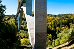 Highway Bridge, A 71, in autumn, Thuringia, Germany stock photo