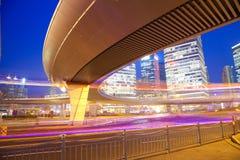 The highway bridge car light trails of shanghai modern urban bui Royalty Free Stock Image