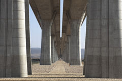 Highway bridge colonnade Royalty Free Stock Photography