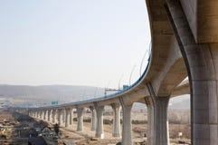 Highway bridge colonnade Royalty Free Stock Photo