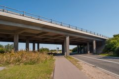 Highway bridge in Denmark. On a sunny day royalty free stock images