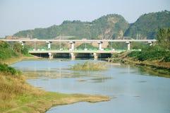 Highway bridge and light rail bridge Royalty Free Stock Image