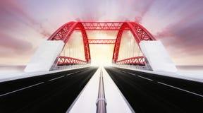 Highway bridge motion blur at sunset Stock Photos