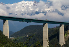 Highway bridge with mountains Stock Photography