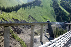 Highway and bridge in the  mountains Royalty Free Stock Image