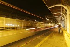 Highway Bridge at night. Blurry, walker stock image