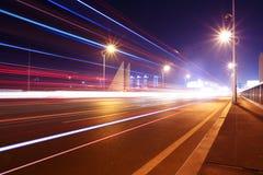 Highway bridge at night Stock Photo