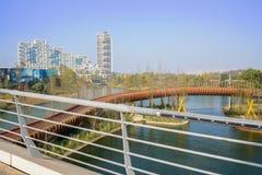 Highway bridge over modern footbridge in sunny winter morning Royalty Free Stock Photos