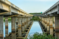 Highway Bridge Over the River Stock Photography