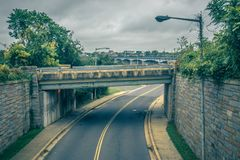 Highway bridge overpass on a cloudy day in washington dc. Highway bridge overpass on a cloudy day  in washington dc Stock Photography