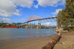 Highway bridge and railway bridge Stock Images
