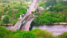 Highway and bridge with subway metro. stock footage