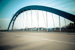 Highway Bridge. Suspension bridge huge steel girders and columns Royalty Free Stock Photo