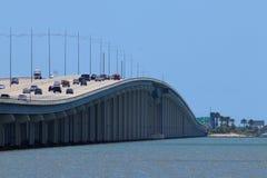 Highway bridge in Texas, United States of America. Gulf Freeway, Galveston Causeway towards Galveston, Galveston Island. Perspective view of an American freeway Royalty Free Stock Image