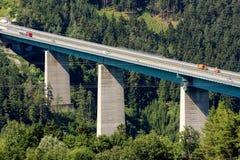 Highway bridge in Tirol - Europabruecke - Brenner - Autobahn. Famous Europabrueck viewed from Patsch near Innsbruck Tirol royalty free stock images