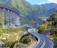 Highway Bridge. Wide view of the highway bridge in Sichuan Province, China Stock Photos