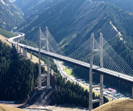Highway Bridge. Wide view of the highway bridge in Xinjiang Province, China Stock Photo