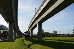 Highway Bridges. Intersections, suspended train railway Royalty Free Stock Image