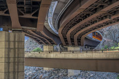Highway bridges and tunnel in Glenwood Canyon Stock Image