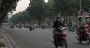 Highway with busy traffic in Hanoi, Vietnam. stock video