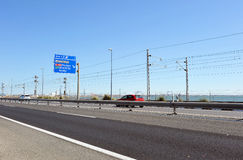 Highway of Cadiz to San Fernando, Bay of Cadiz, Andalusia, Spain Royalty Free Stock Images