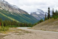 Highway through the Canadian Rockies along the Icefields Parkway between Banff and Jasper Stock Images