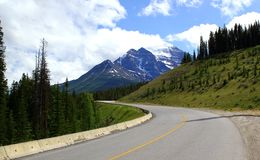 Highway 1 in the Canadian Rocky Mountains near Canmore / Banff Nationalpark royalty free stock photo