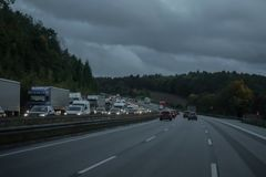 The highway during a car drive stock image