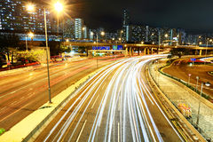 Highway with car light Royalty Free Stock Image