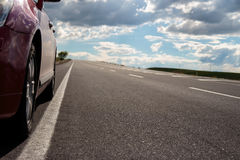 Highway and Car. Highway. Open views and sunny weather to travel Royalty Free Stock Photos