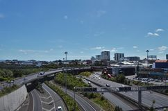 Highway with cars in Auckland royalty free stock photography