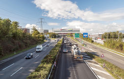 Highway with cars in Geneva Stock Images