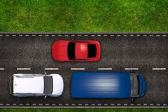 Highway with Cars Illustration Royalty Free Stock Photography