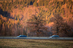 Highway with cars and nature in the background Stock Photo