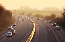 Highway with cars and Truck Stock Images